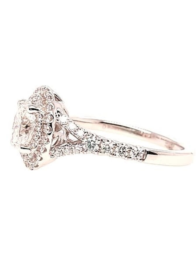Oval diamond (0.75 ct center I/SI, 0.95 ctw) halo engagement ring, 14k white gold