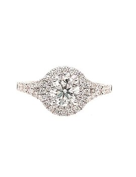 Diamond (0.75 ct center H/SI, 0.95 ctw) halo engagement ring, 14k white gold