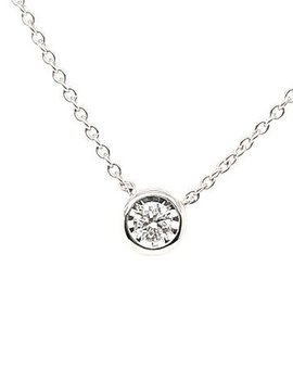 Diamond (0.25ctw) pendant, bezel set necklace, 14k white gold