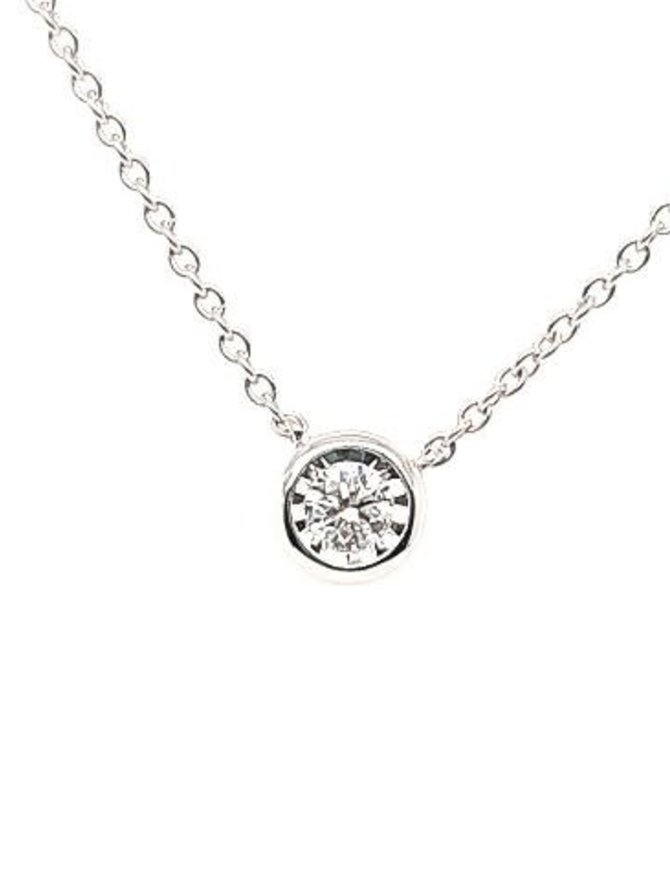 Diamond (0.25ctw)pendant, bezel set necklace, 14k white gold