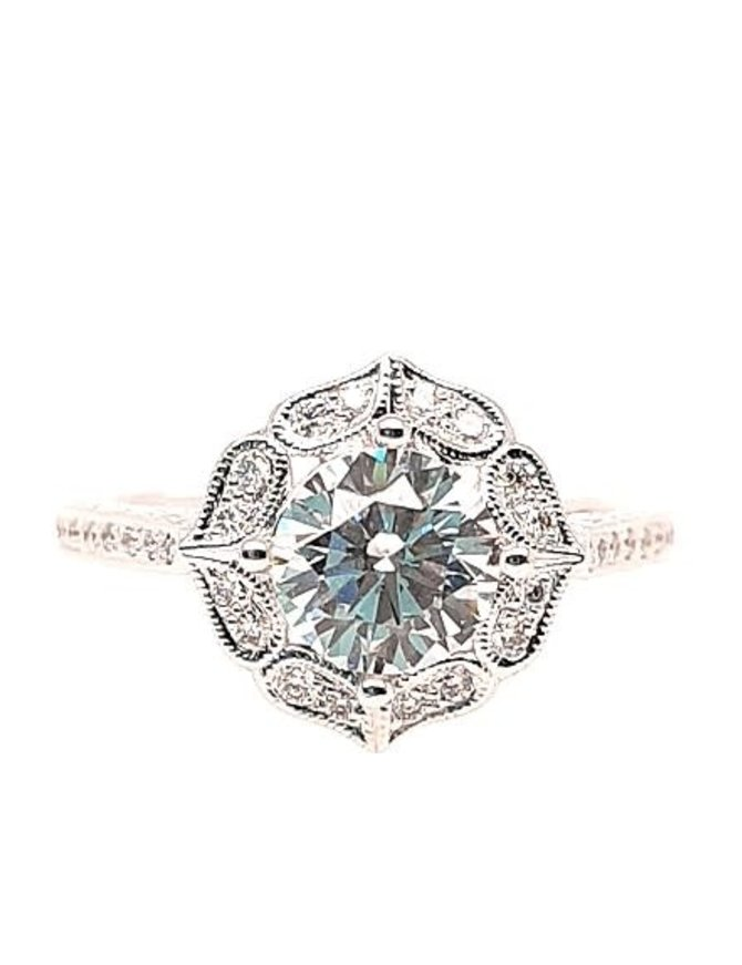 Diamond (0.16 ctw) antique halo setting, 14k white gold, shown with a cz, center stone not included