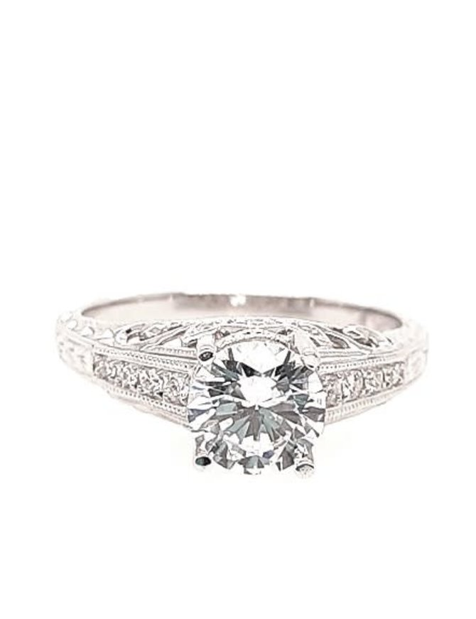 Diamond (0.12 ctw) channel setting, 14k white gold, shown with a cz center, center stone not included