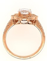 Diamond (0.30 ctw) antique halo setting, 18k yellow gold, shown with a cz center, center stone not inlcuded