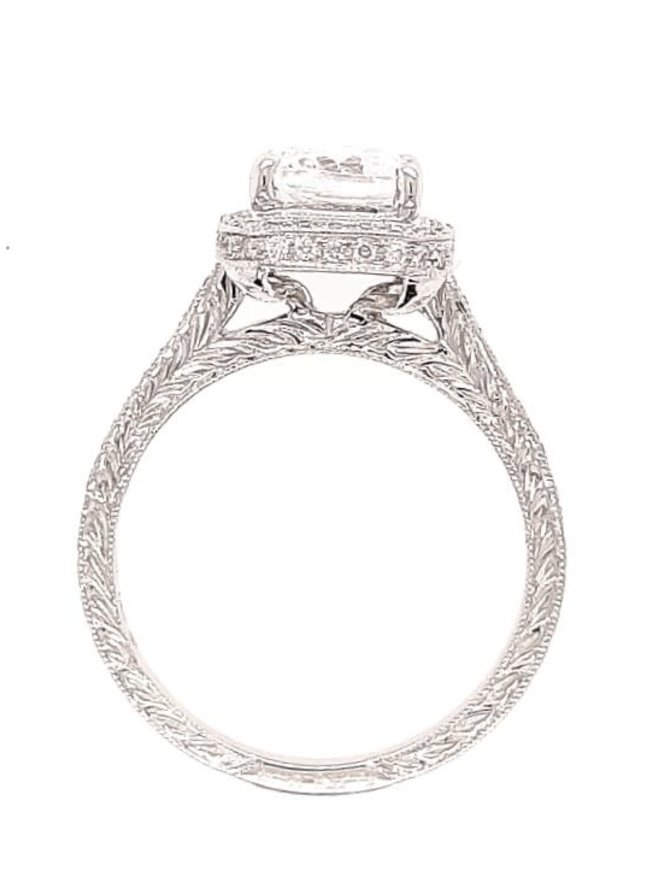 Diamond (0.21 ctw) square beaded halo setting, 18k white gold, shown with a cz center, center stone not included