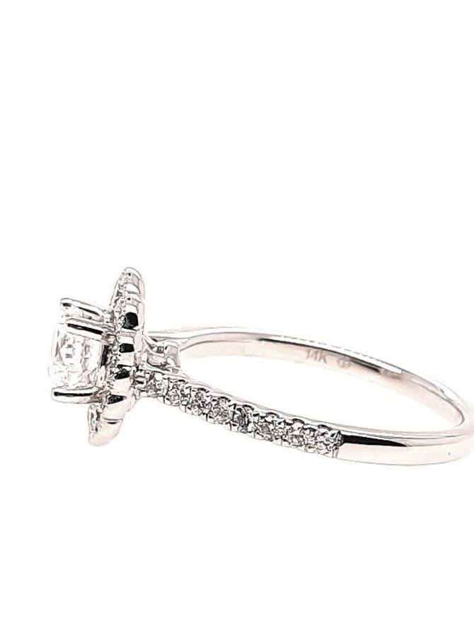Diamond (0.50 ctw) halo with scalloped edge setting, 14k white gold, shown with a cz, center stone not included