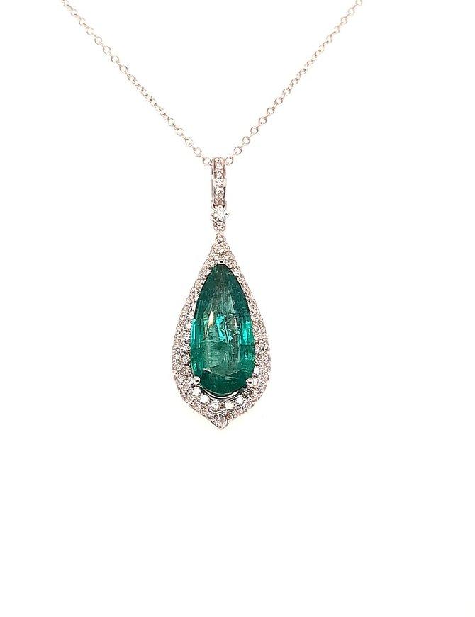 Emerald (5.19 ct) & diamond (1.15 ctw) pendant, 18k white gold, chain included
