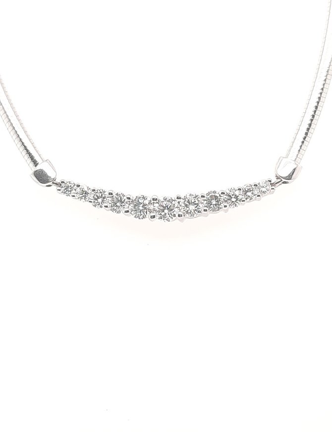 Diamond (2.04 ctw) Omega Necklace (18 ctw) White Gold