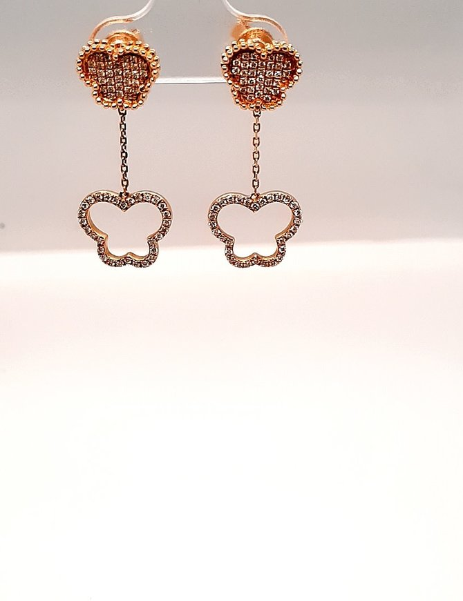 Diamond (.42 ctw) Double Heart Earrings 14kt Yellow