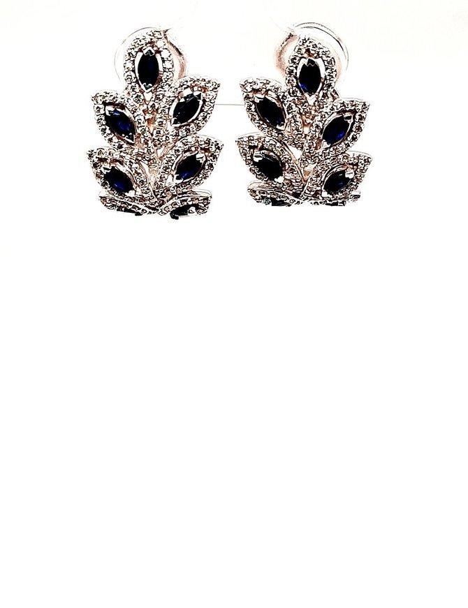 Sapphire (1.60 ctw) & Diamond (1.14 ctw) Dangle Earrings 14kt White Gold