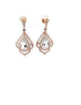 Aquamarine (1.43 tcw) & Diamond (.55 tcw) Dangle Earrings 14kt Rose Gold