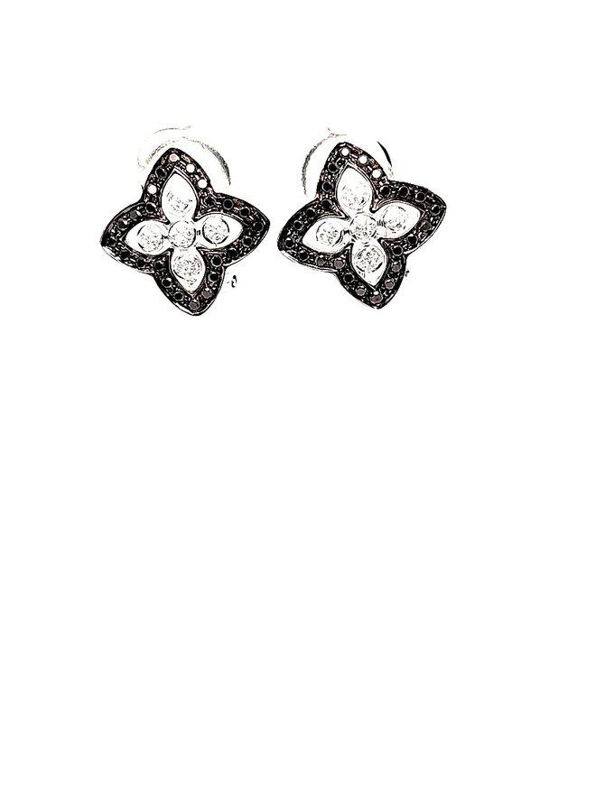Black & White Diamonds (.34 ctw) Flower Earrings 14kt White Gold