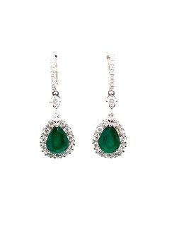 Emerald (2.661 tcw) & Diamond (1.59 tcw) Teardrop Earrings