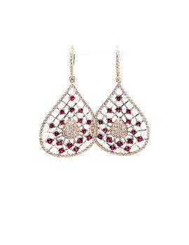 Ruby (1.62 tcw) & Diamond Dangle Earrings 14kt Yellow Gold