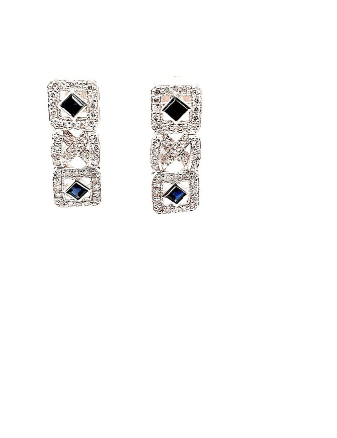 Diamond (.88 ctw) & Sapphire (.57 ctw) Dangle Earrings 14 kt White Gold