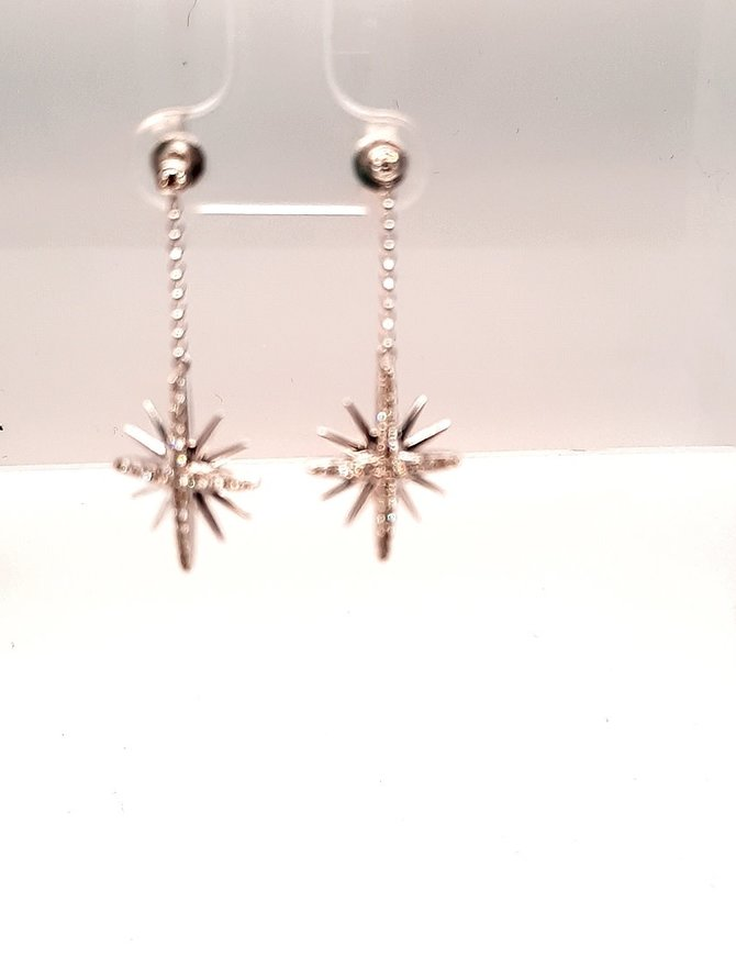 4004995: Diamond (.37 ctw) Dangle Earrings 14kt White Gold