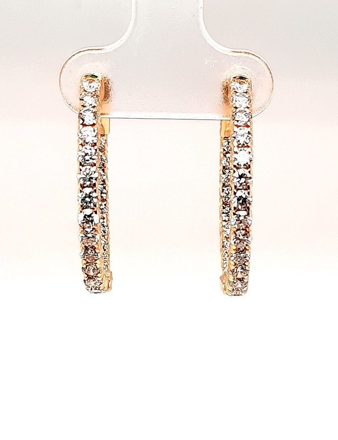 Diamond (2.05 ctw) Hoop Earrings 14kt Yellow Gold