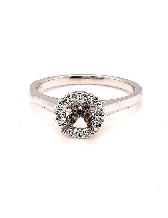 Diamond (.19 ctw) Halo Top Setting 14kt White Gold 3.3 g