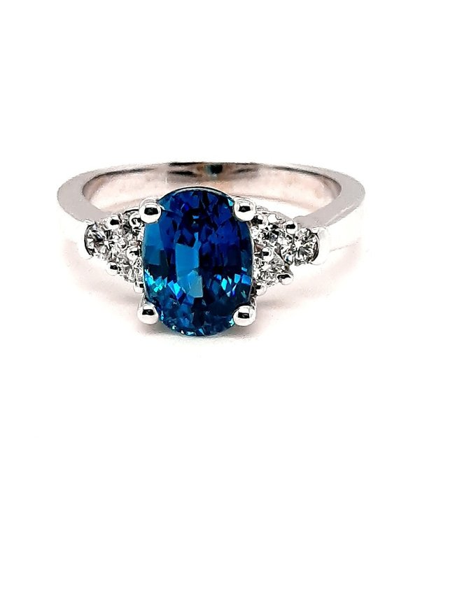 Blue Zircon (3.64 ctw) & Diamond Ring 14kt White Gold