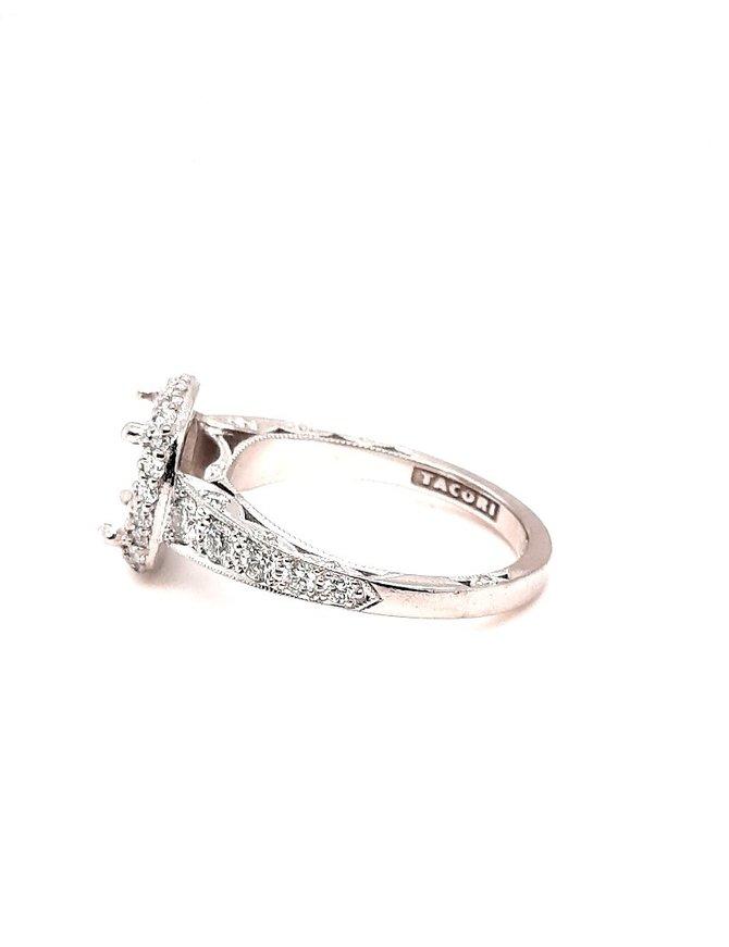 Diamond (.90 ctw) halo Tacori setting,18 kt white gold 5.8 g