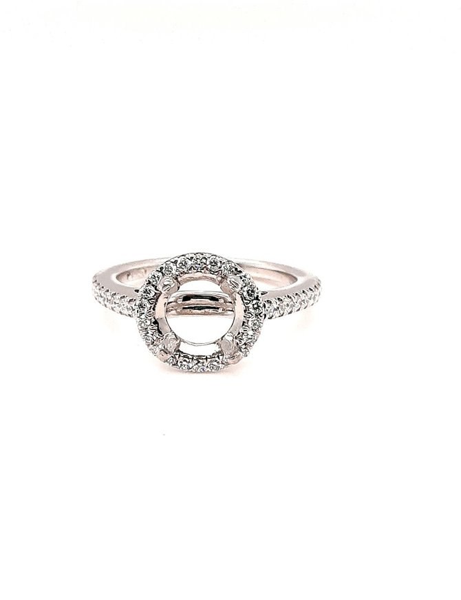 Diamond (1/3 ctw) halo setting, platinum 4.3g