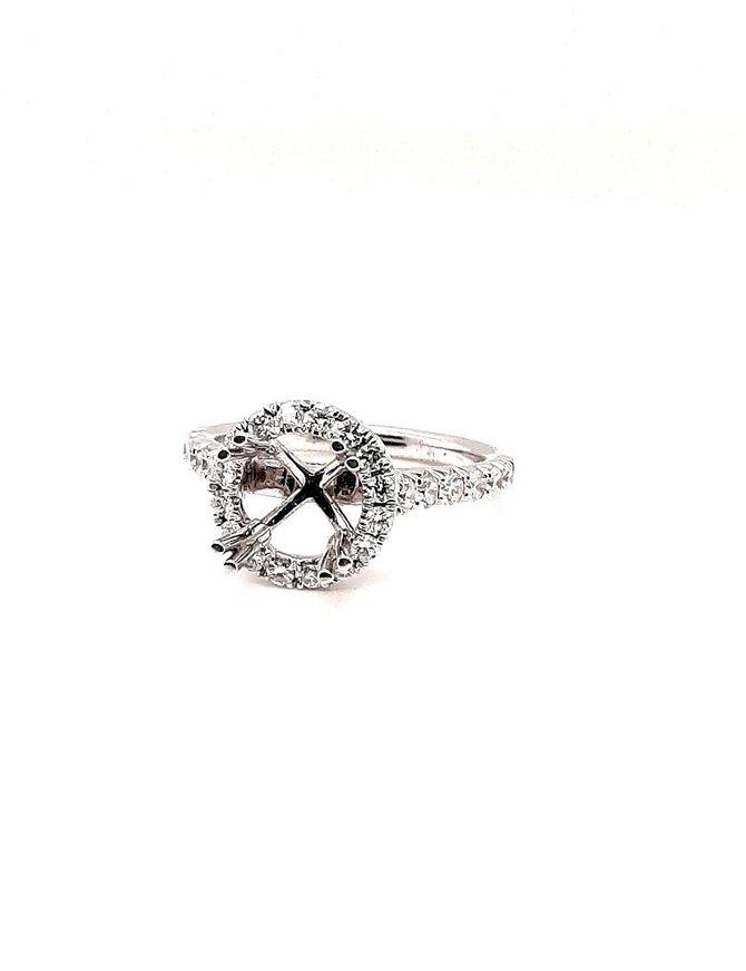 Diamond (.50 ctw) halo setting, 14 kt white gold 4.2g