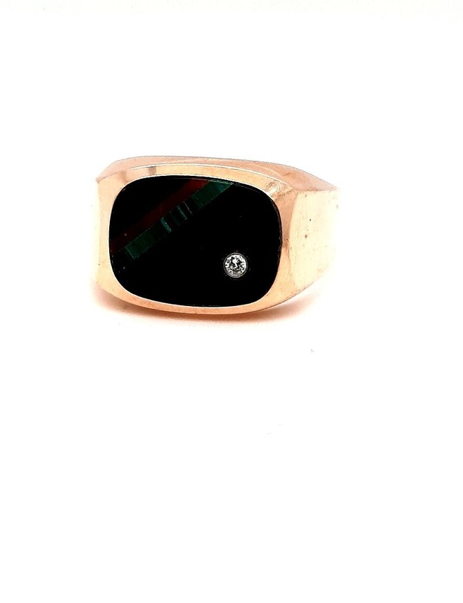 Onyx (10kt) Tiger Eye & Diamond Mens Ring Yellow Gold 5.88g
