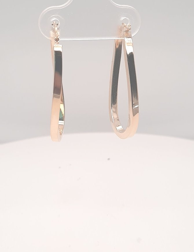 Oval Square Hoop Earrings Yellow Gold 1.7g