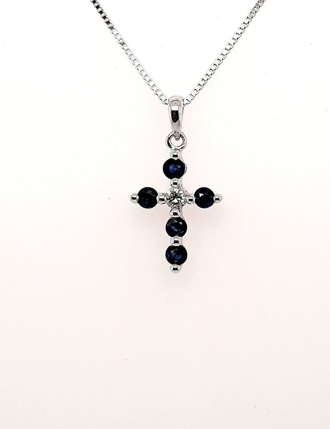 White Gold Cross with Sapphires 14kt 1.7g