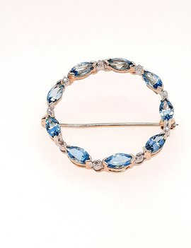 Blue Topaz & Diamond Pin 14k Yellow Gold 3.3g