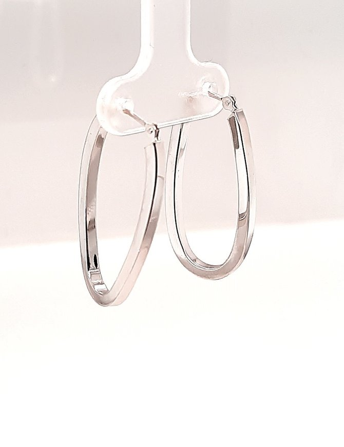 Oval Hoops White Gold 1.4g
