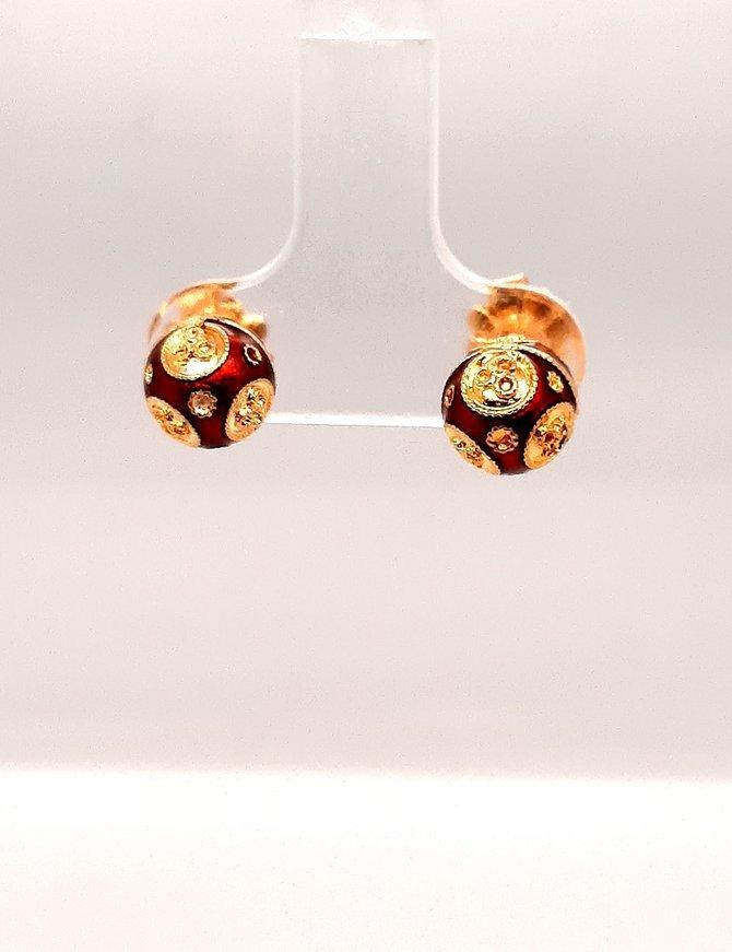 Gold Ball Earring & Enamel 18 kt Yellow Gold 2.6g