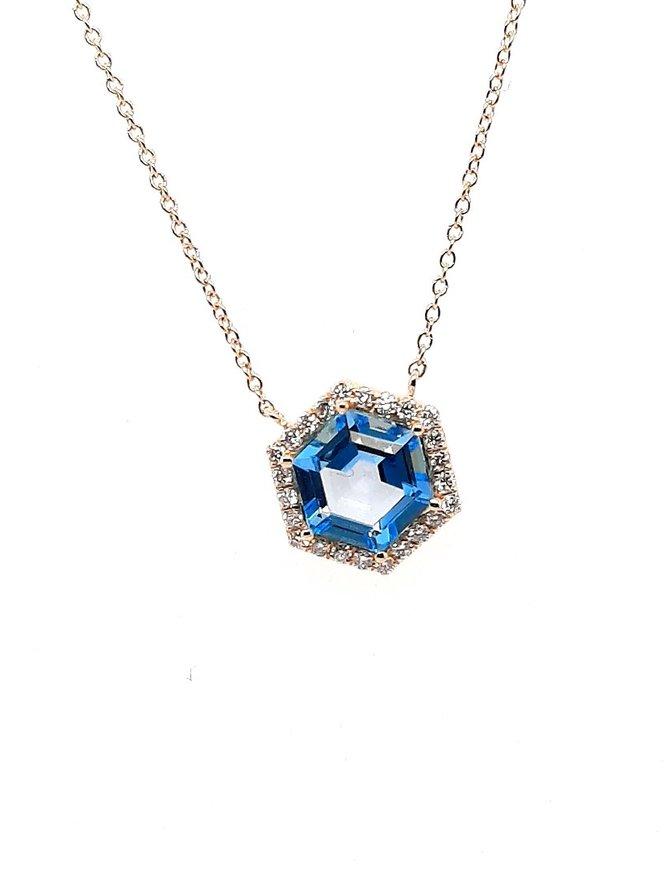 Blue topaz (1.50 ct) & diamond (0.12 ctw) pendant, 14k white gold, chain included