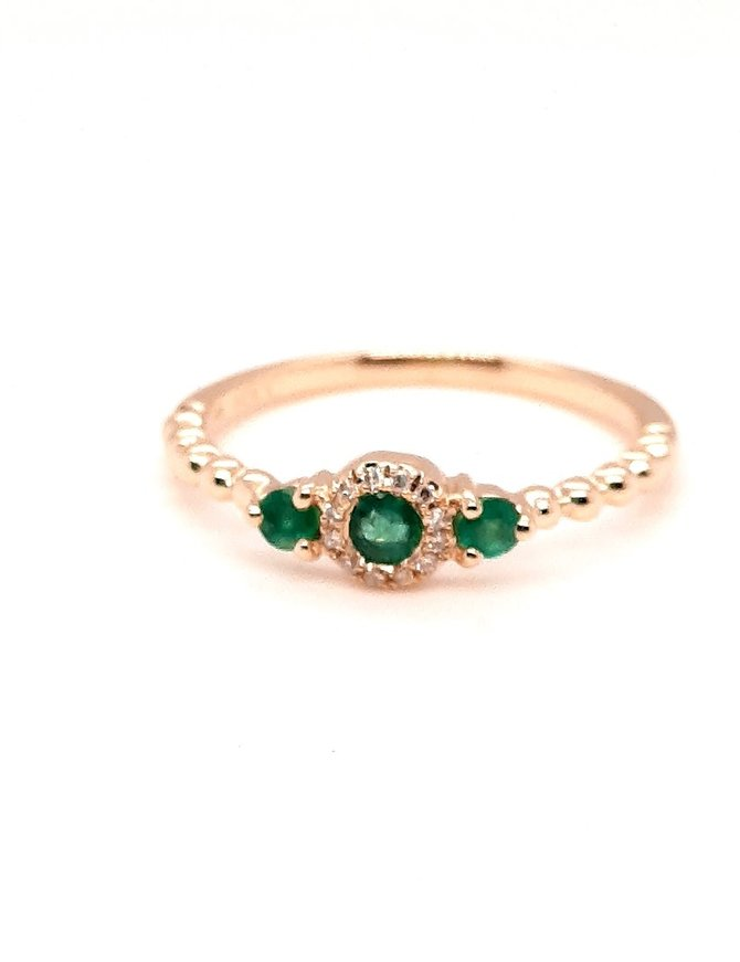 Emerald (0.25 ctw) & diamond (0.04 ctw) halo ring, 14k yellow gold