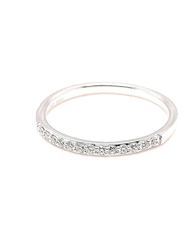 Diamond low-profile, prong set band, 14k white gold