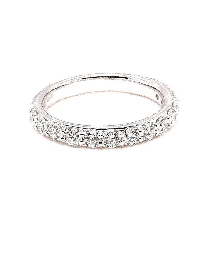 Diamond (1.00 ctw) prong set band, 14k white gold