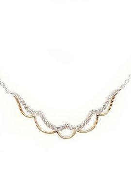 Diamond (0.12 ctw) scalloped necklace, 14k white & yellow gold