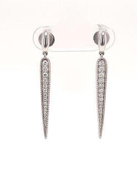 Diamond (0.33 ctw) tapered dangle earrings, 14k white gold
