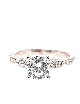 Diamond (0.20 ctw) marquise look setting, 14k white gold, shown with a cz, center stone not included