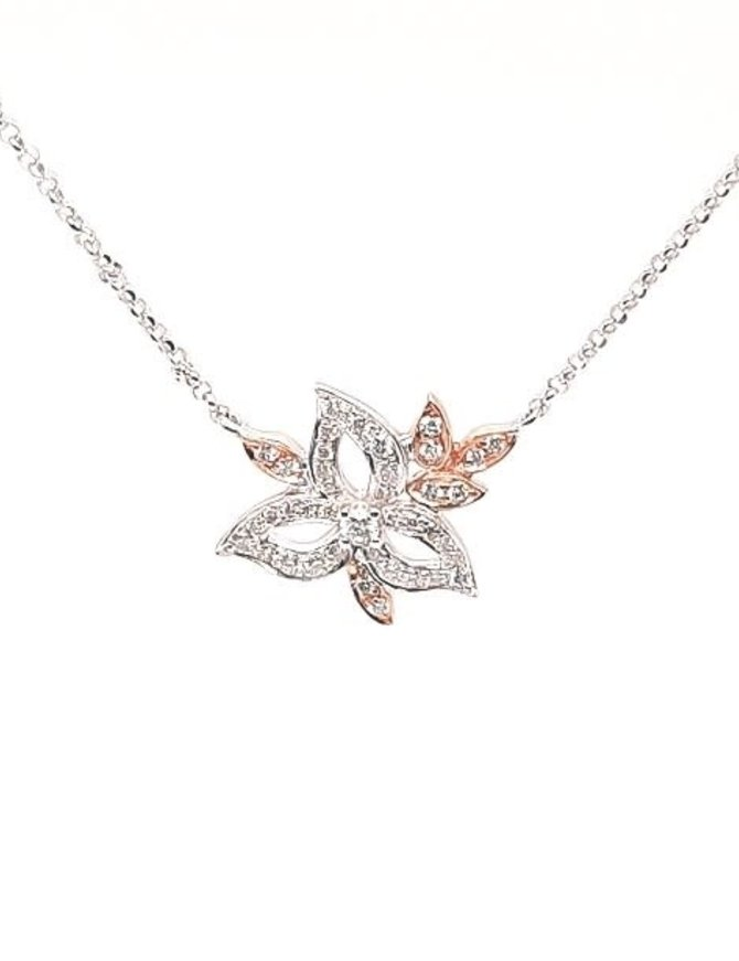 Diamond (0.20 ctw) flower necklace, 14k white & rose gold, chain included