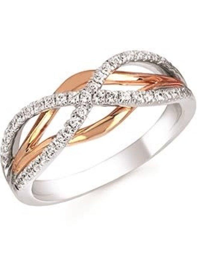 Diamond (0.25 ctw) cross-over band, 14k white & yellow gold