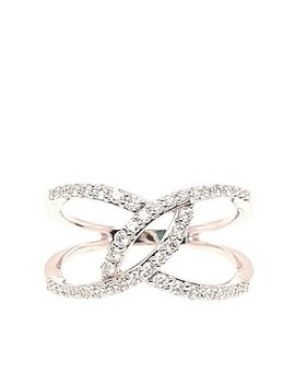 Diamond (0.36 ctw) split bypass ring, 14k white gold
