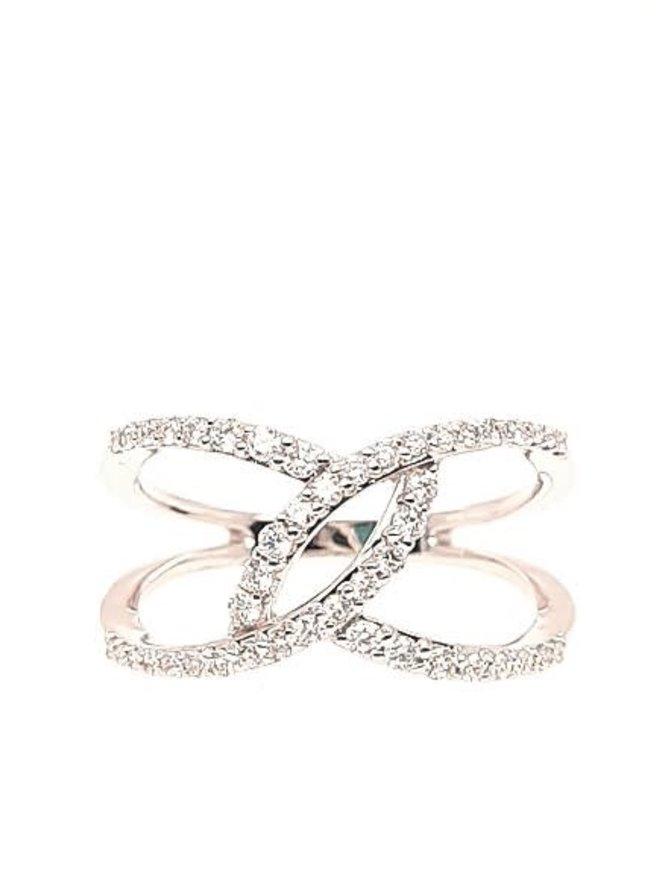 Diamond (0.36 ctw) split bypass ring, 14k white gold
