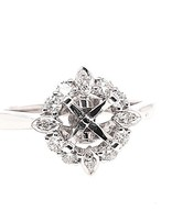 Diamond (0.33 ctw) halo setting, 14k white gold, center stone not included