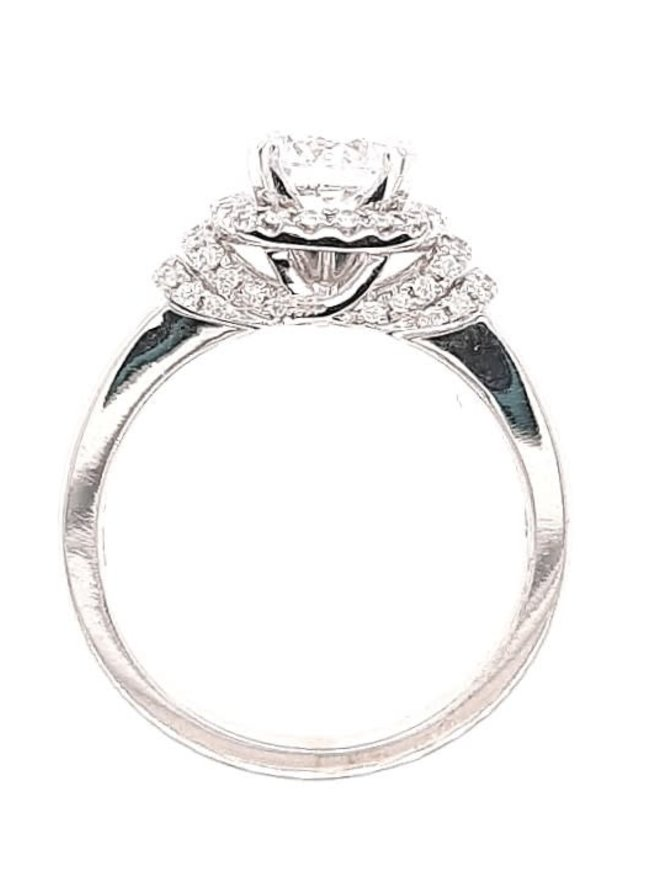 Diamond (0.25 ctw) halo step setting, 14k white gold, shown with a cz, center stone not included