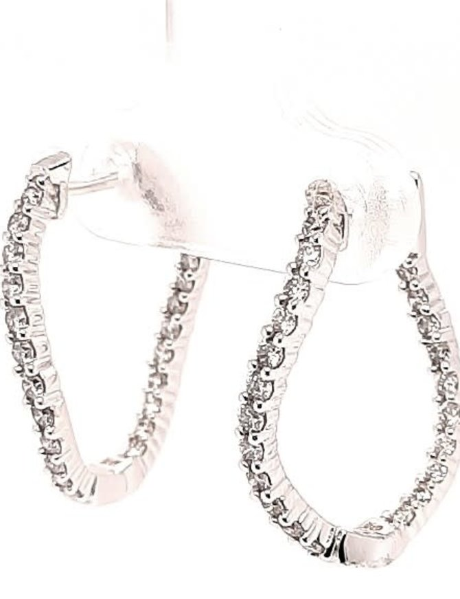 Diamond (0.63 ctw) twisted inside/out hoop earrings, 14k white gold
