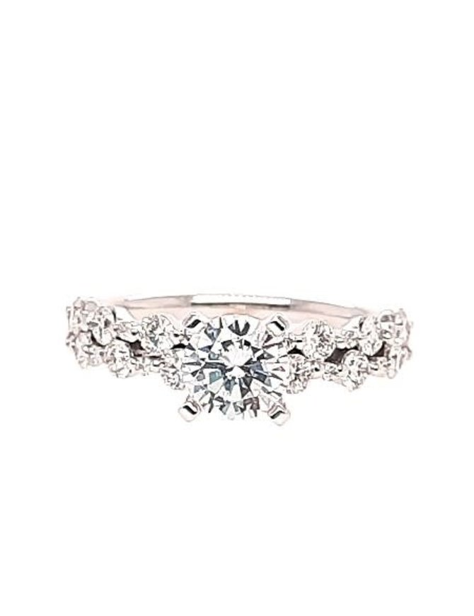2-row diamond (0.60 ctw) setting, 14k white gold, shown with a cz, center stone not included