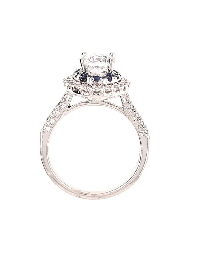 Diamond (0.54 ctw) & sapphire (0.12 ctw) halo setting, 14k white gold, shown with a cz, center stone not included