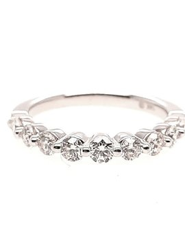 Diamond (0.75 ctw) bead prong band, 14k white gold