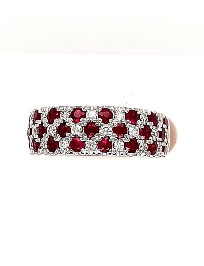 Ruby (1.48 ctw) & diamond (0.38 ctw) band, 14k white gold