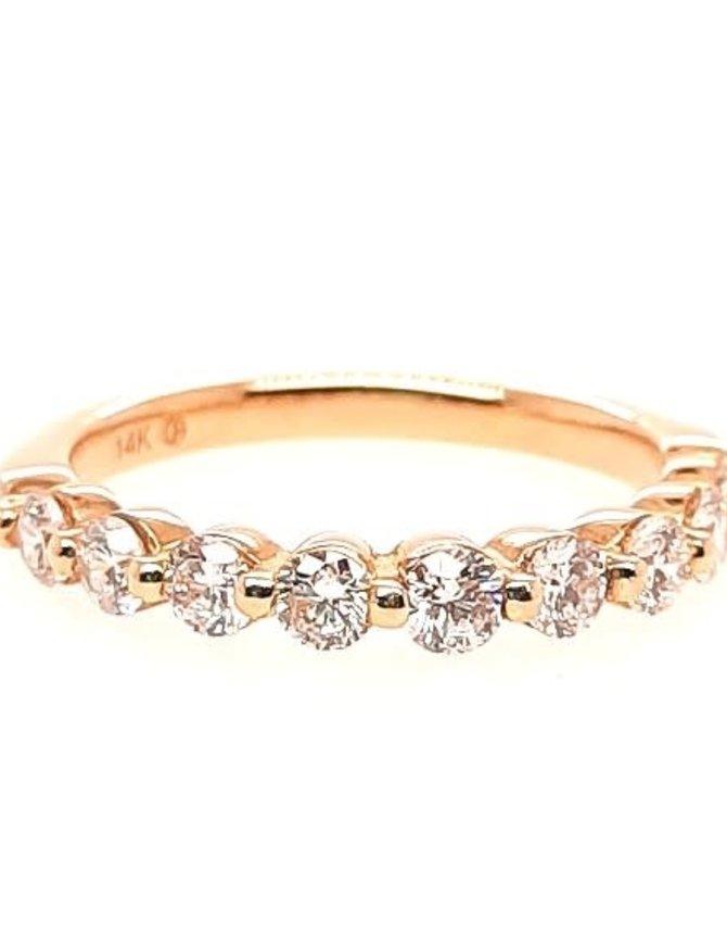 Diamond (1.00 ctw) bead prong band, 14k yellow gold
